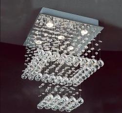 Lustre Pendente Quadrado Cristal Legitimo + lampadas Leds
