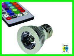 Lâmpada Led RGB 3w Controle remoto